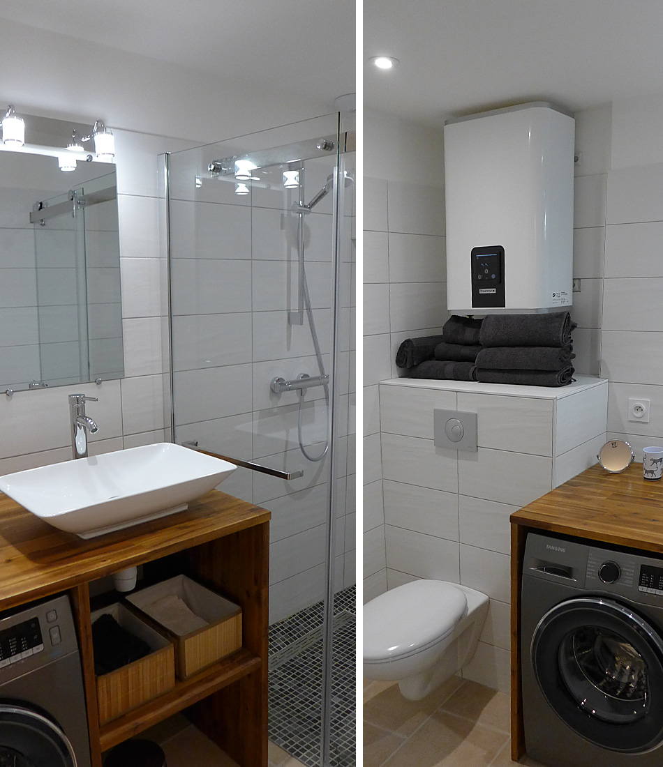 Bath with shower and toilet